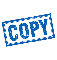 Copy blue square grunge stamp on white vector
