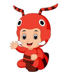cute boy cartoon wearing ant costume vector image