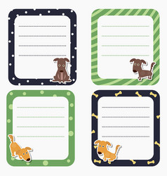 cute cards or stickers with dog cute cards or vector image