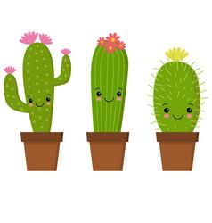 cute cartoon cactus with funny vector image