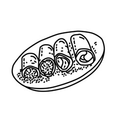 Dadar gulung icon doodle hand drawn or outline vector