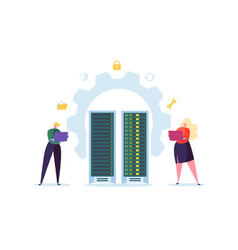 data center technology concept people characters vector image