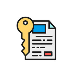 Document with key certificate safe paper vector