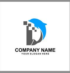 dolphine tech logo vector image