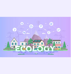 Eco-friendly town - modern flat design style vector