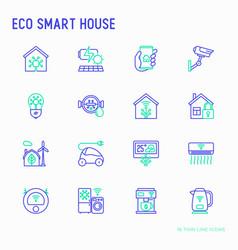 eco smart house thin line icons set vector image