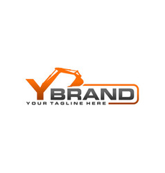 excavator logo template - letter y vector image