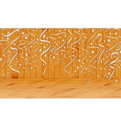 Falling confetti in wooden room vector