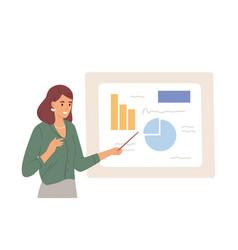 Female speaker pointing at presentation on white vector