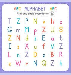 Find and circle every letter z worksheet vector