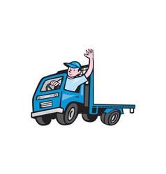 Flatbed Truck Driver Waving Cartoon vector image