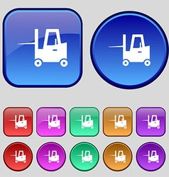 Forklift icon sign A set of twelve vintage buttons vector
