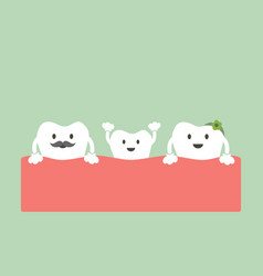 Funny teeth family vector