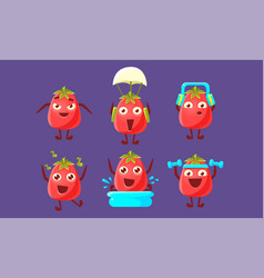 Funny tomato set cute vegetable characters in vector