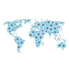 Global atlas mosaic of cogwheel items vector