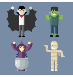 Halloween Characters Icons Set on Stylish vector