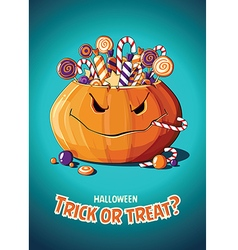 Halloween vintage poster Trick or treat Pumpkin vector