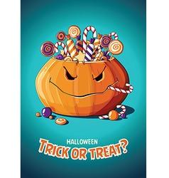 Halloween vintage poster trick or treat pumpkin vector