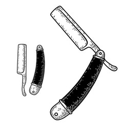 hand drawn barber razor in engraving style vector image