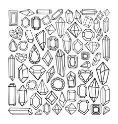 Hand drawn modern set of crystals vector