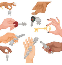 Hand holding key apartment selling human vector