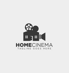 Home video cinema black color simple line logo vector