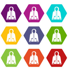 hooded jacket icons set 9 vector image