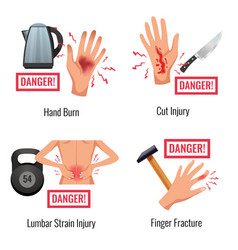 Injury warning flat compositions vector