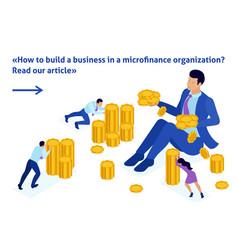 Isometric microfinance organization vector