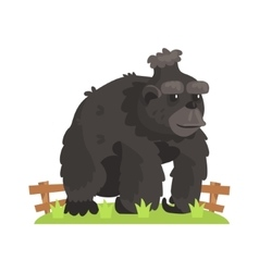 Large black gorilla wig scruffy fur standing vector