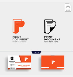 letter p paper creative logo template with vector image
