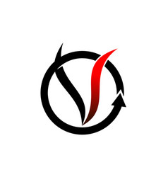 Letter v vapor system vector