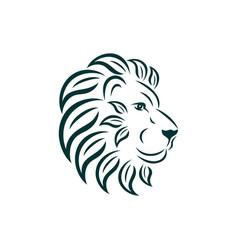 lion logo design art nouveau big cat head vector image