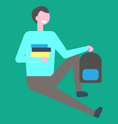 Male student sitting on floor with pile books vector