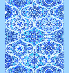 Mandala tile pattern ogee blue background vector