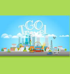 modern cityscape with cars city panarama vector image