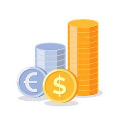 money and coins silver and gold financial assets vector image