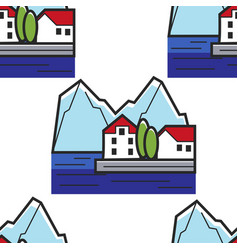 montenegrin landscape seamless pattern house on vector image