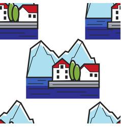 Montenegrin landscape seamless pattern house on vector