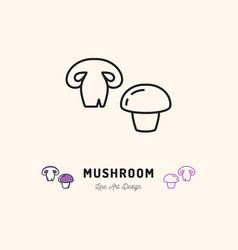 mushroom icon champignon vegetables logo thin vector image
