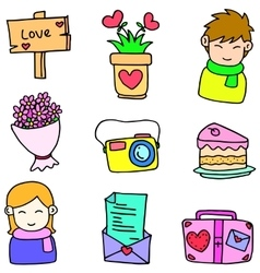 Object love theme of doodles vector image