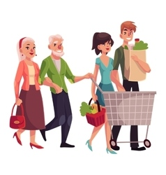 Old and young couples shopping buying food in vector
