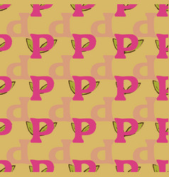 P from alfabet repeat pattern print background vector