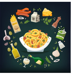 pasta with bacon vector image