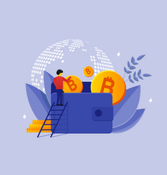 person and wallet of bitcoins vector image