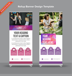 polygonal purple and blue rollup banner vector image