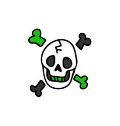 Punk rock skull and bones vector