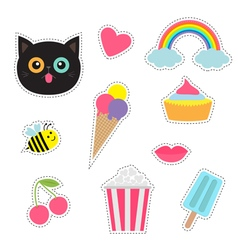 Quirky cartoon sticker patch badges set Fashion vector image