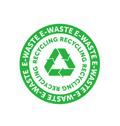 Recycling e-waste green circle badge with mobius vector