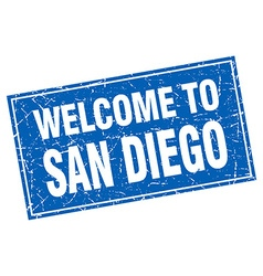 San diego blue square grunge welcome to stamp vector